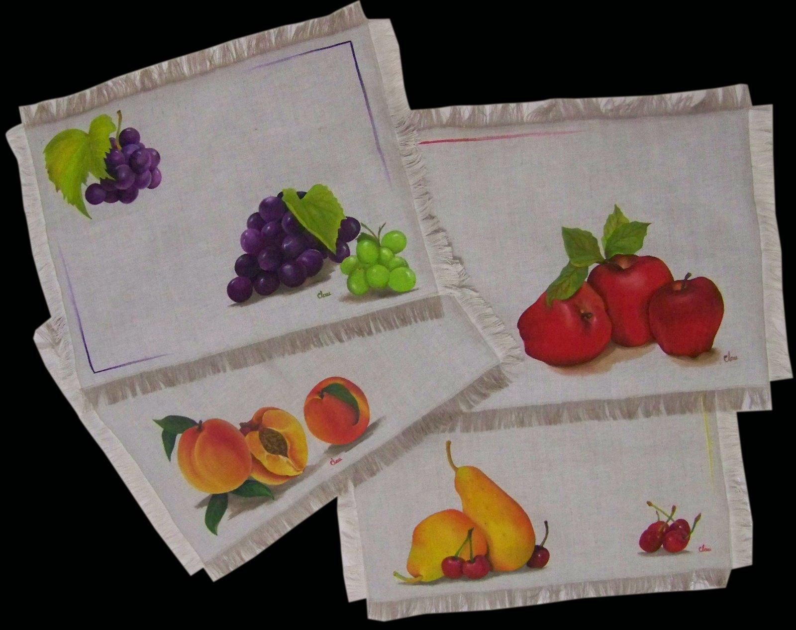 Pintura en tela a mano manteles e individuales pintados a for Manteles individuales de tela
