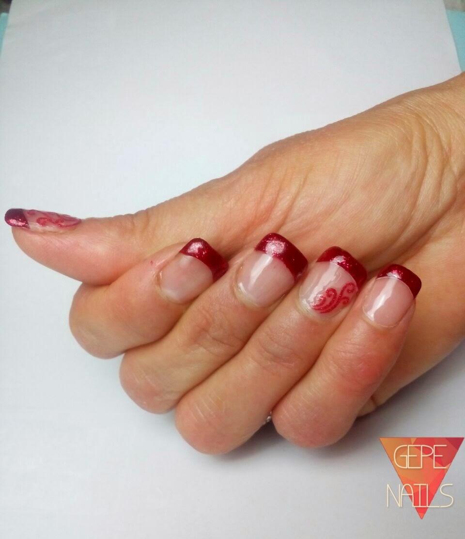 Gepe nails manicura francesa rojo glitter colaboraci n - Manicura francesa colores ...