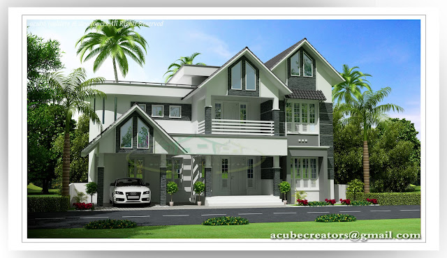New kerala style villa 2481 sq ft plan 148 acube for New home designs kerala style