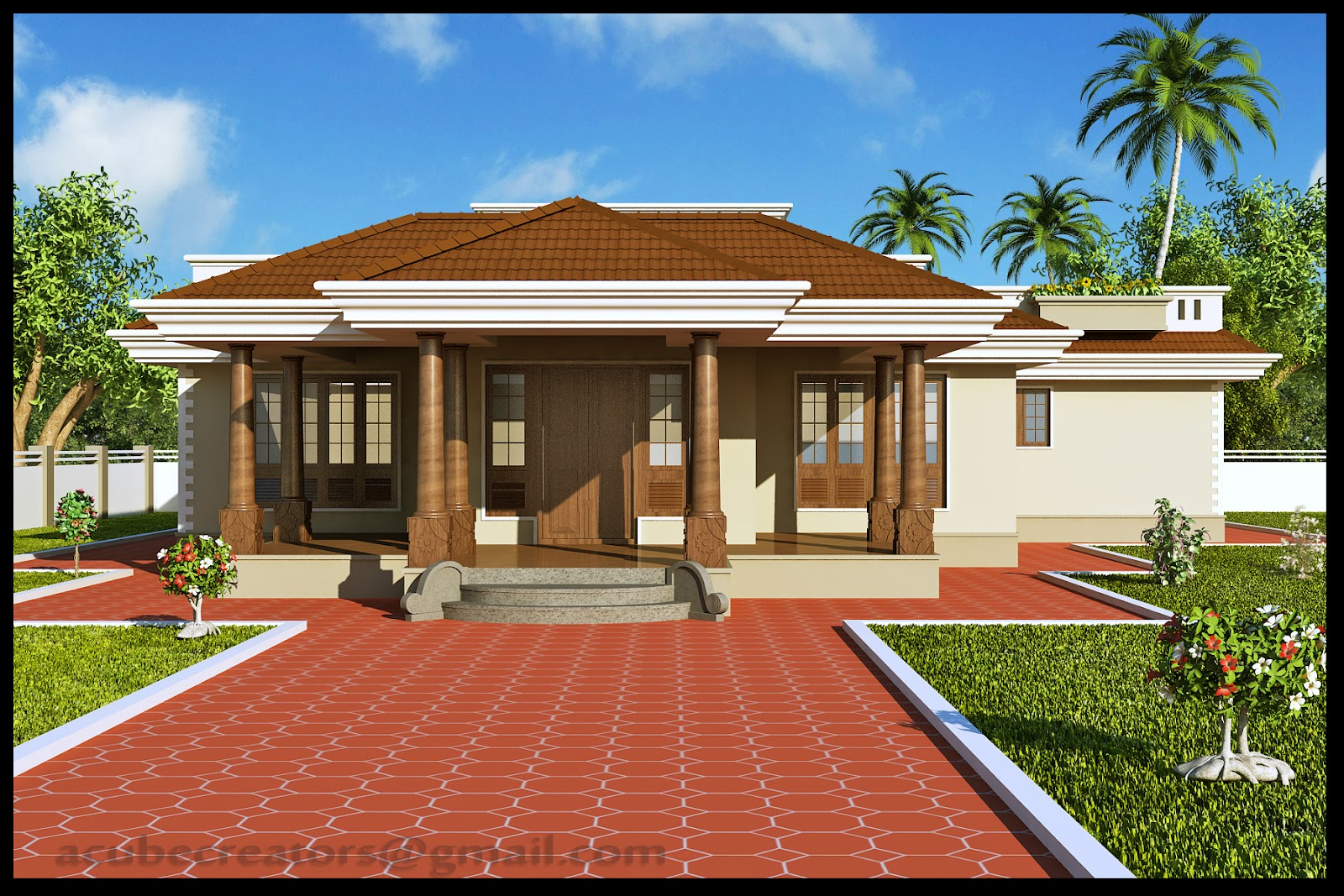Kerala style single floor house 2165 sq ft plan 112 for Single floor house