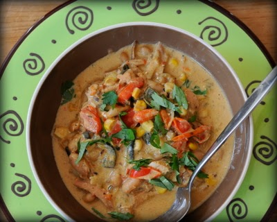 White Chicken Chili, a spicy-but-not-too-spicy concoction of chicken, spices, chilies and white beans.
