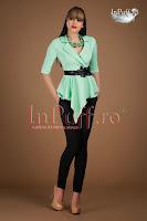 Bluza eleganta verde menta peplum si piele ecologica (Atmosphere)