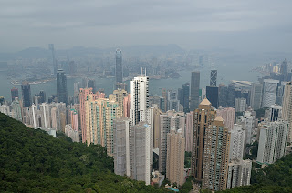 View of Hong Kong Island apartment buildings from Victoria Peak