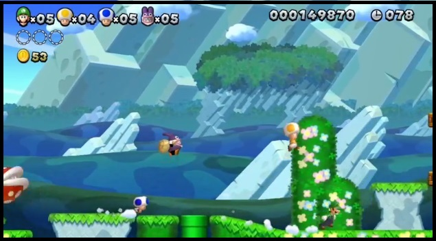 Blue Toad, Nabbit, Yellow Toad, and Luigi in Wii U game New Super Luigi U