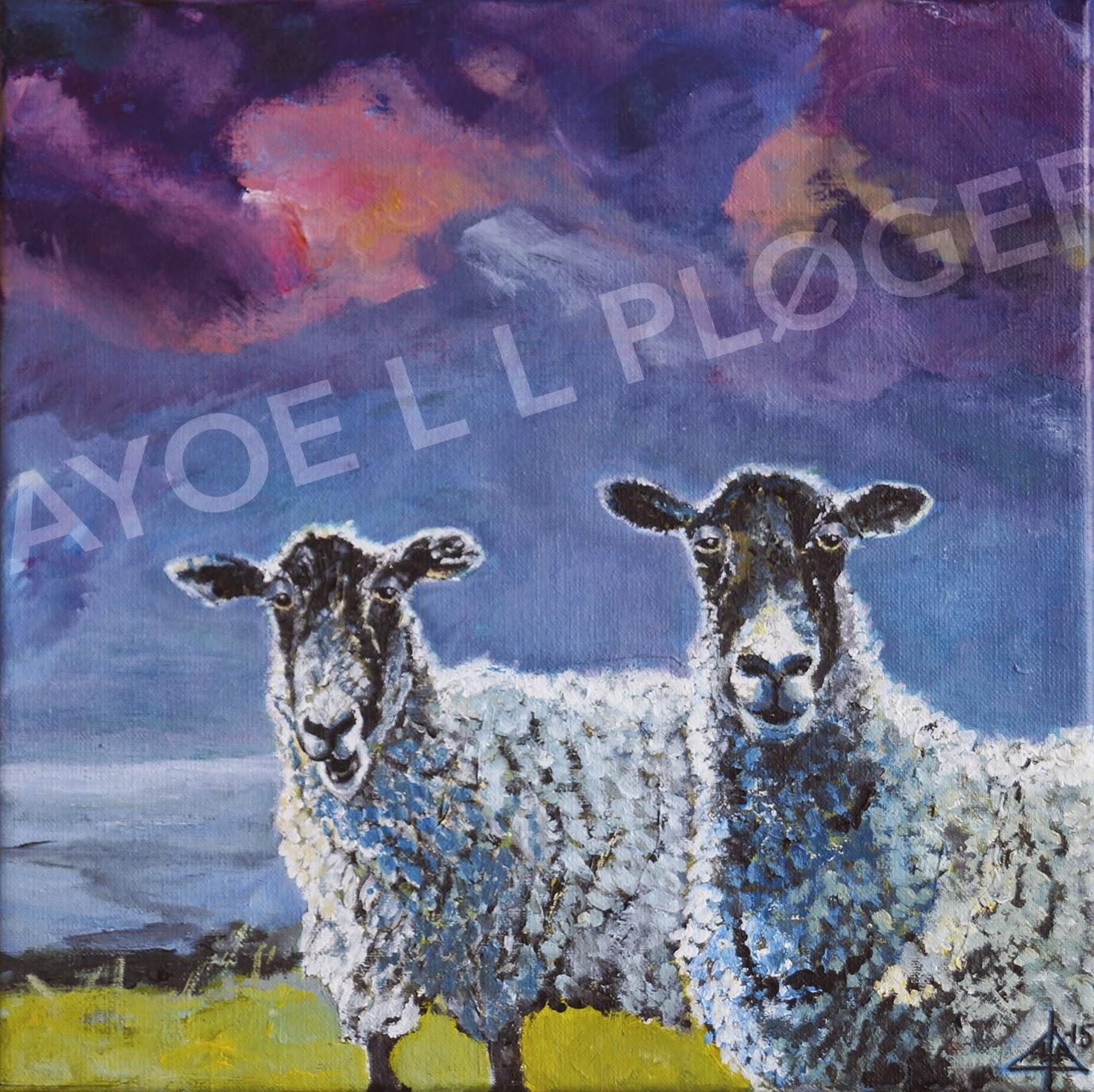 Får, lam, marsken, venskab, maleri, acryl, kunst, sheep, friendship, dige