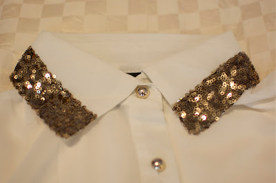 Romwe Sequin Collar Blouse