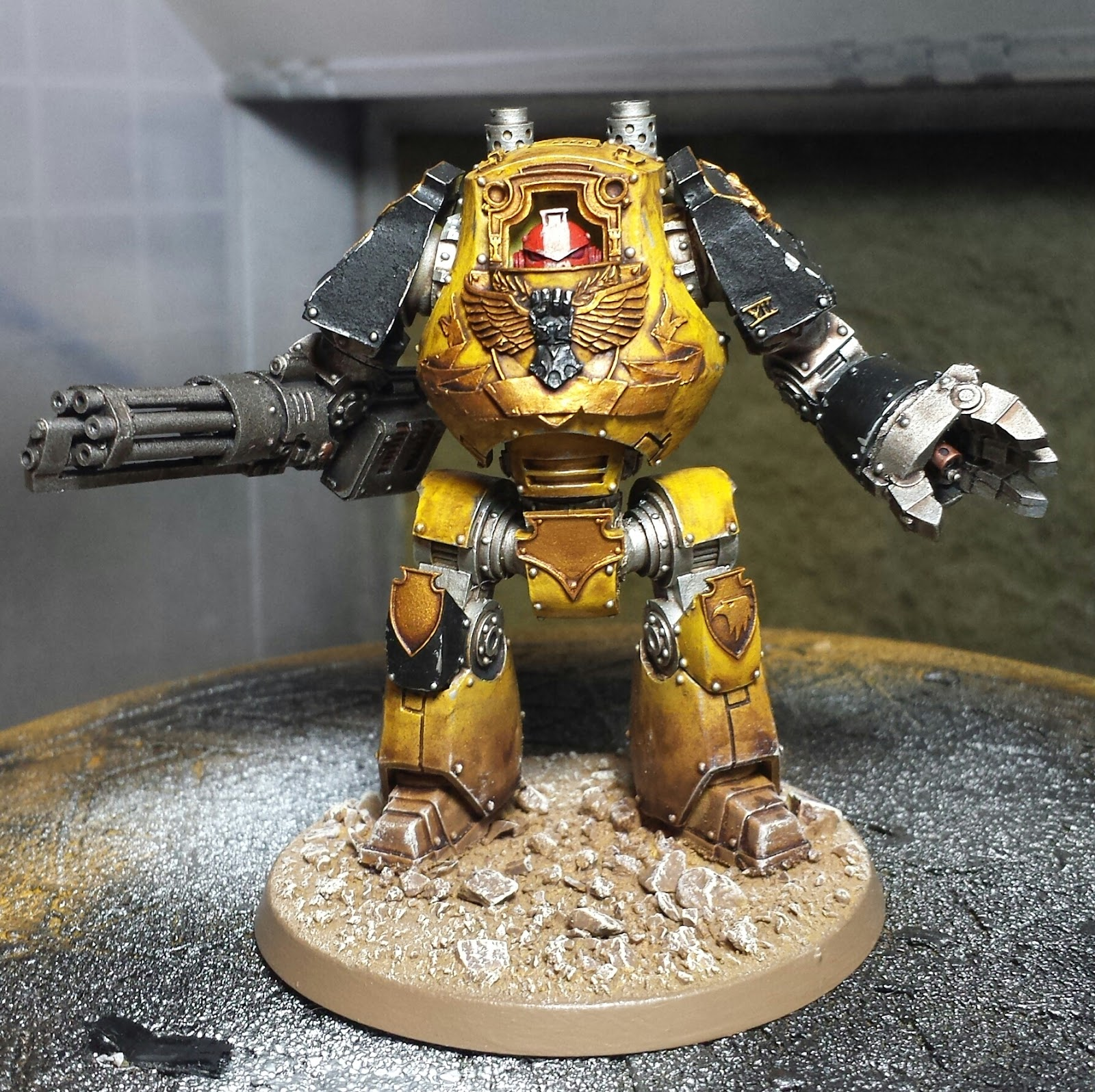 Wargamer 40k craziness workbench progress horus heresy imperial fists contemptor dreadnought - Imperial fists 40k ...