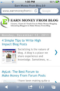 earn money from blog 2.0 in mobile version blogspot