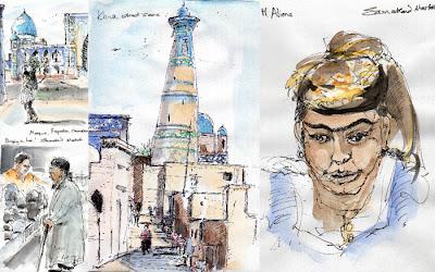 Khiva Samarkand Uzbek sketches Chris Shoji