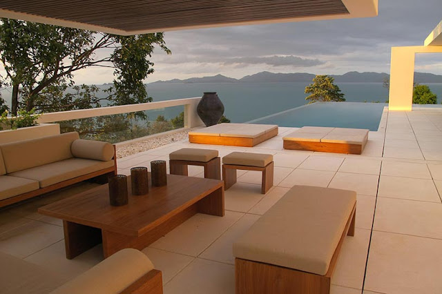 Picture of modern wooden furniture on the terrace