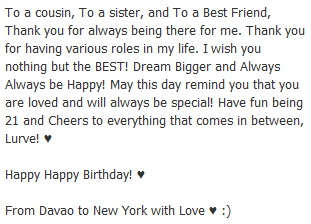 thanks to my cousin trisha for this wonderful birthday greeting i love her
