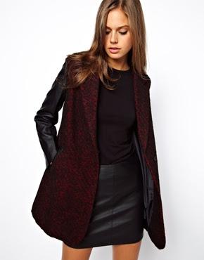 abrigo mangas de cuero ASOS