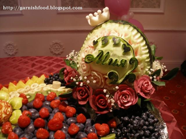 fruit carving arrangement for children