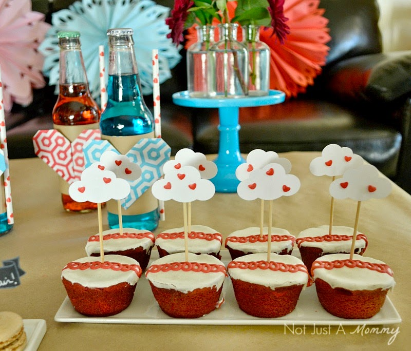 Love Is In The Air Valentine Table red velvet Hostess cupcakes
