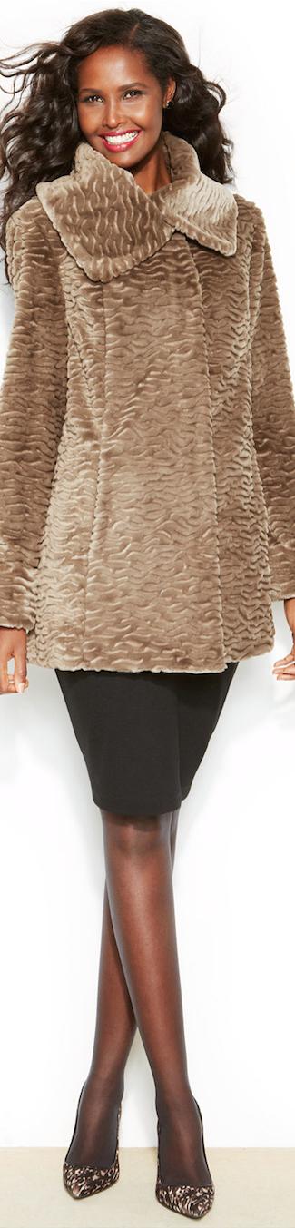Jones New York Persian  Faux-Fur Swing Coat