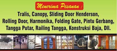 Teralis, Railing Tangga, Railing Balkon, Kanopi, Pintu Besi, Pintu Pagar, Pagar Besi, Pintu Garasi, Tangga Besi