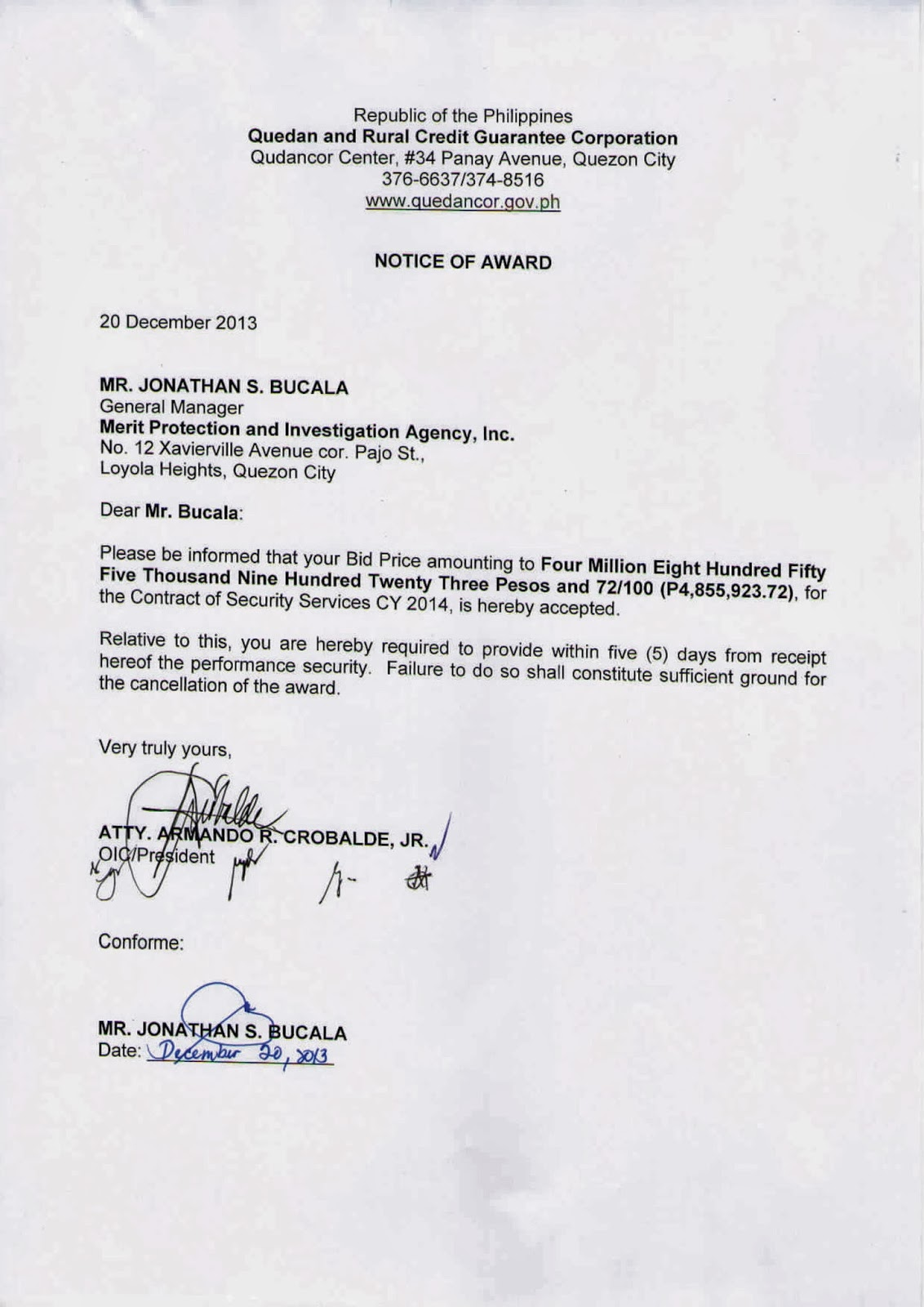 sample letter of termination of security services