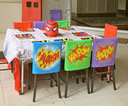 Super Hero and Spider Man Themed Chair Covers by Kids Parties 123