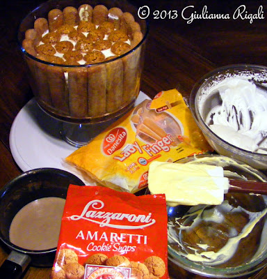 The messy process of layering the Amaretto Boston Cream Tiramisu