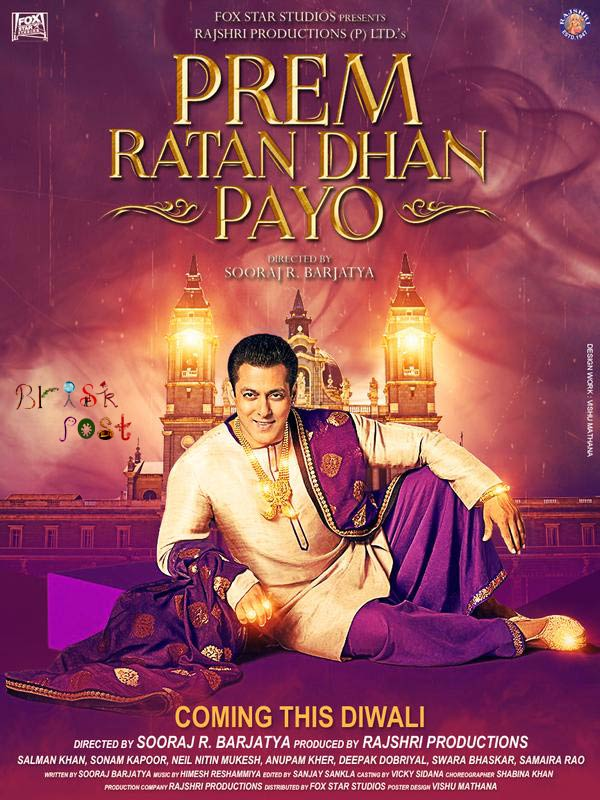Salman Khan as Prem in royal dhoti kurta and stall in Prem Ratan Dhan Payo poster