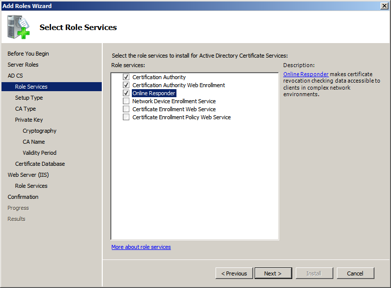 Itechnology blog installing windows 2008 r2 certificate services select certification authority certificates authority web enrollment online responder yelopaper Images