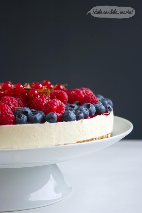 receta fácil de tarta de queso con frutas del bosque