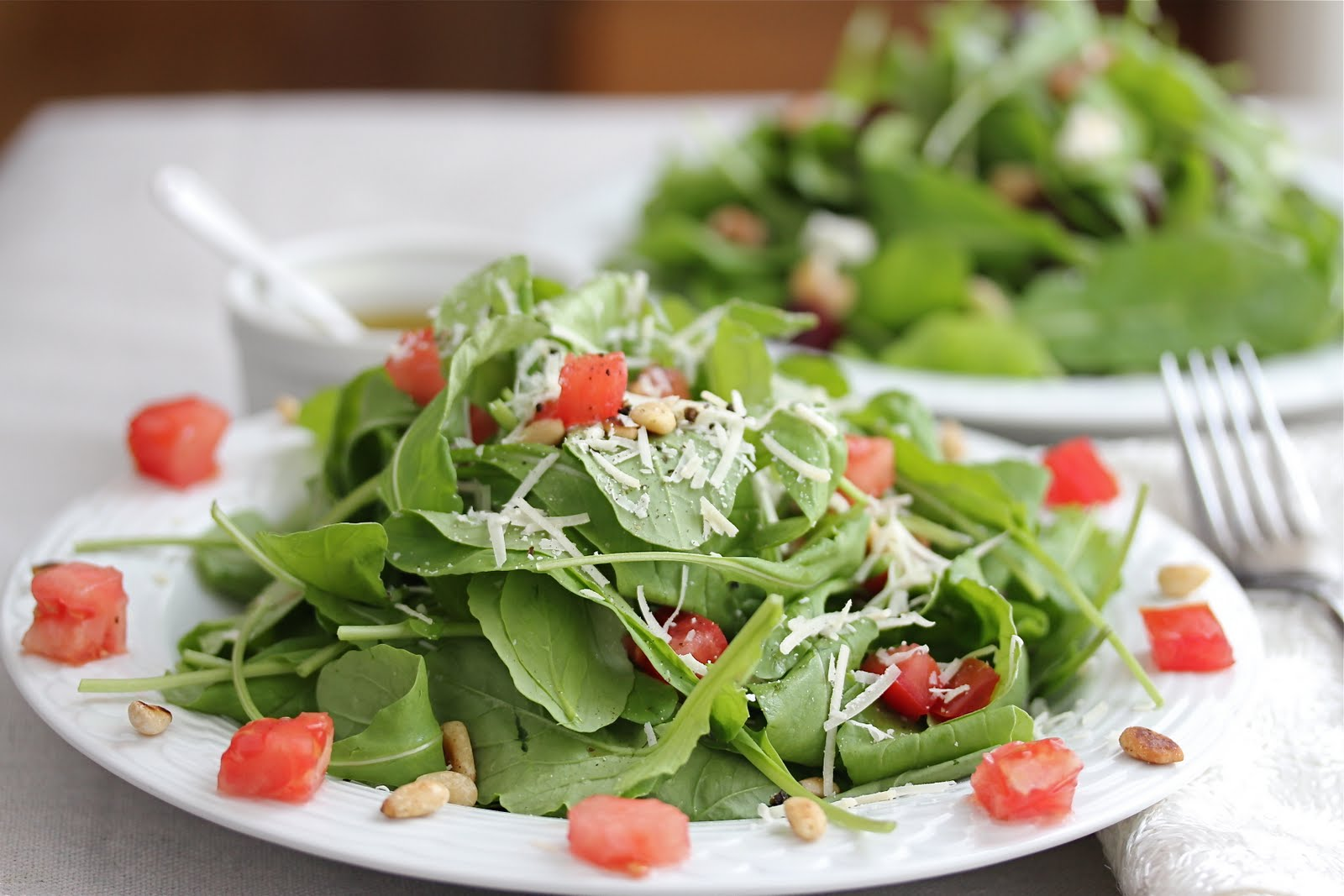 Arugula and Tomato Salad with Lemon Olive Oil Dressing