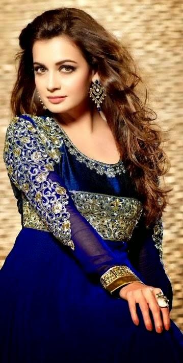 Dia Mirza Anarkali Dresses 2014