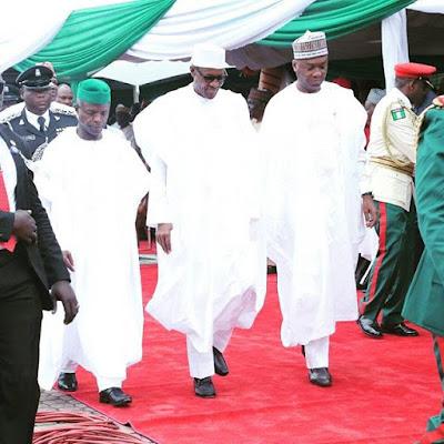 Buhari,Saraki and Osinbajo at Nigeria 55th independence day celebrations in Abuja