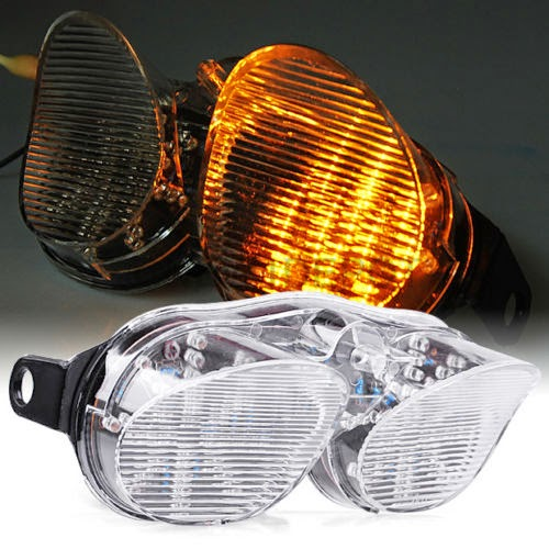 Motorcycle Fit Yamaha YZF R6 01-02 12V LED Clear TailLight Turn Signal Light ND