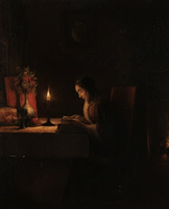 Petrus van Schendel. Woman Reading by Candlelight