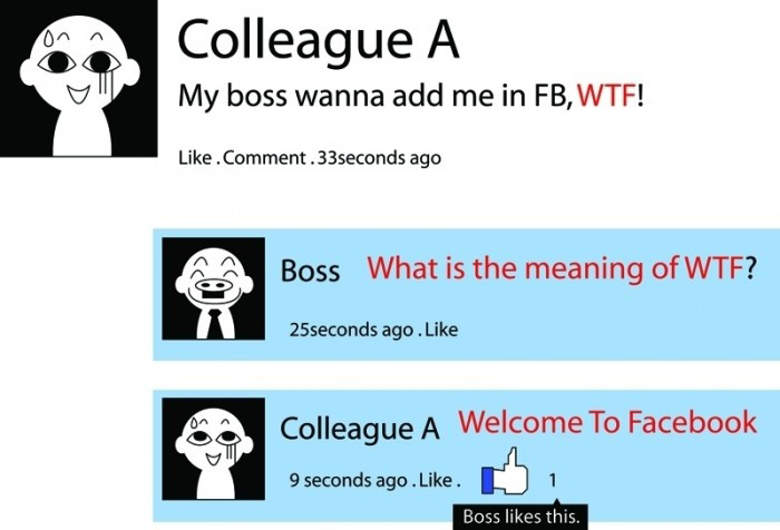 WTF - Welcome To Facebook - Epic Save Like A Boss - Funny Facebook Status