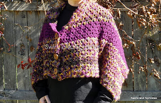 Swirls and Sprinkles: Crochet Slanted Shell Convertible Shawl Pattern