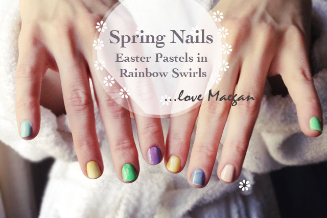 Spring Nails, Easter Pastel Manicure, marbled nail art