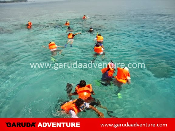 Peserta melakukan kegiatan snorkling di Pulau Sepa