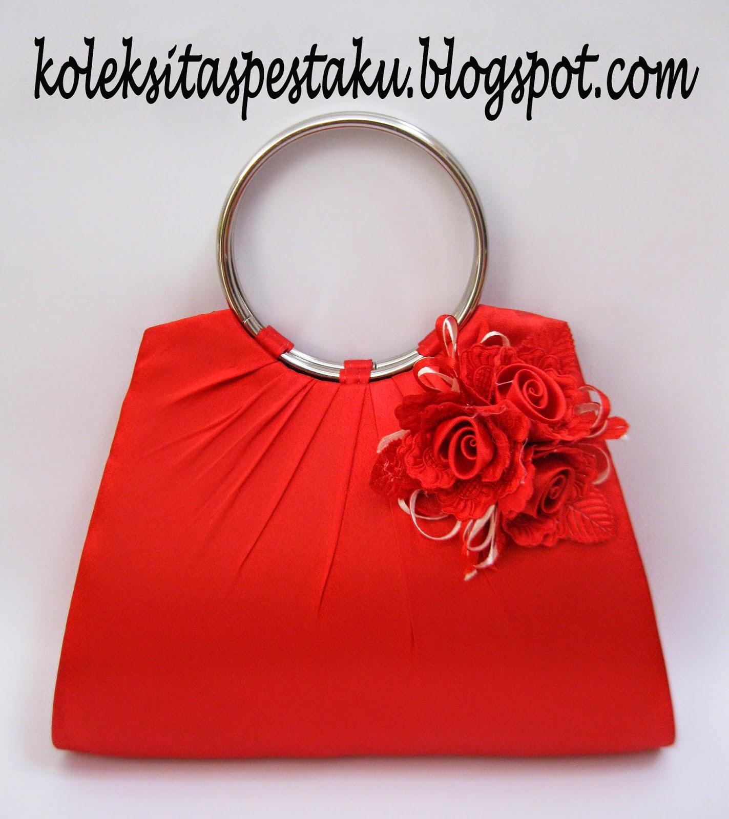 Tas Pesta Merah Cantik Bunga Corsase Elegant