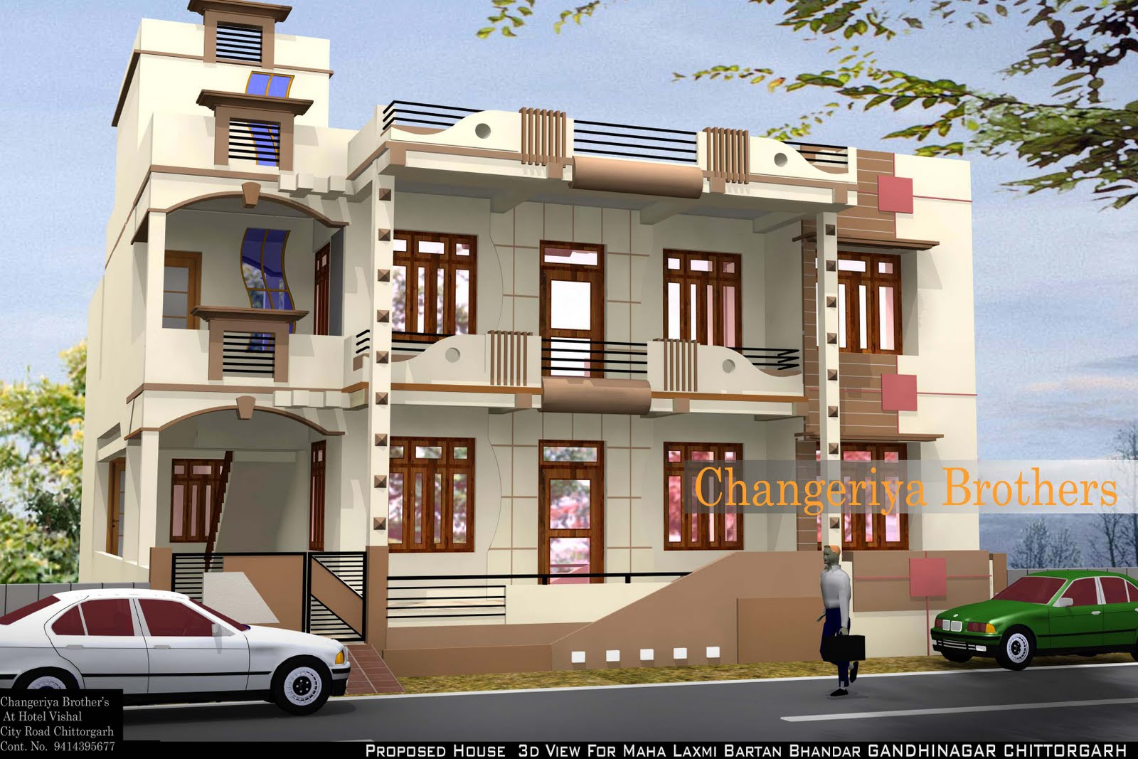 Maha laxmi bartan bhandar 39 s house project exterior design for House naksha image