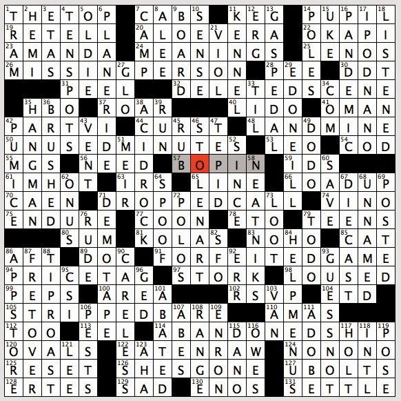 information crossword clue