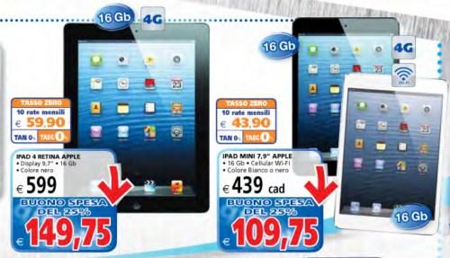 i Tablet di ultima generazione Apple come iPad 4 e iPad mini a tasso zero e con bonus spesa dal il Gigante