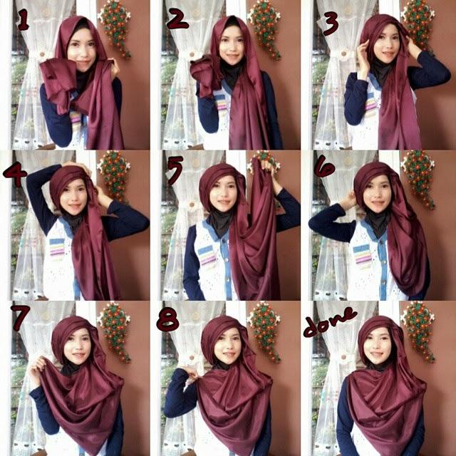 cara memakai jilbab pashmina menutupi dada ala rizky andriani