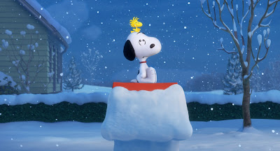 Snoopy and Woodstock sitting on doghouse in the snow