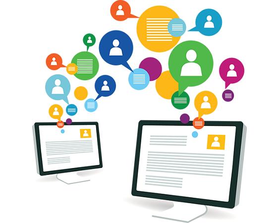 Imagem de dispositivos com balões de redes sociais sobre marketing para 2015