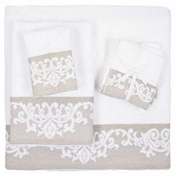 toalla con cenefa en color gris