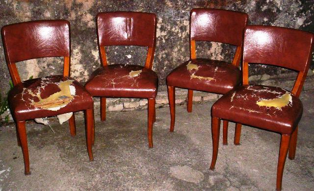 Reciclado de sillas y sillones cuatro sillas de comedor for Reciclado de sillones