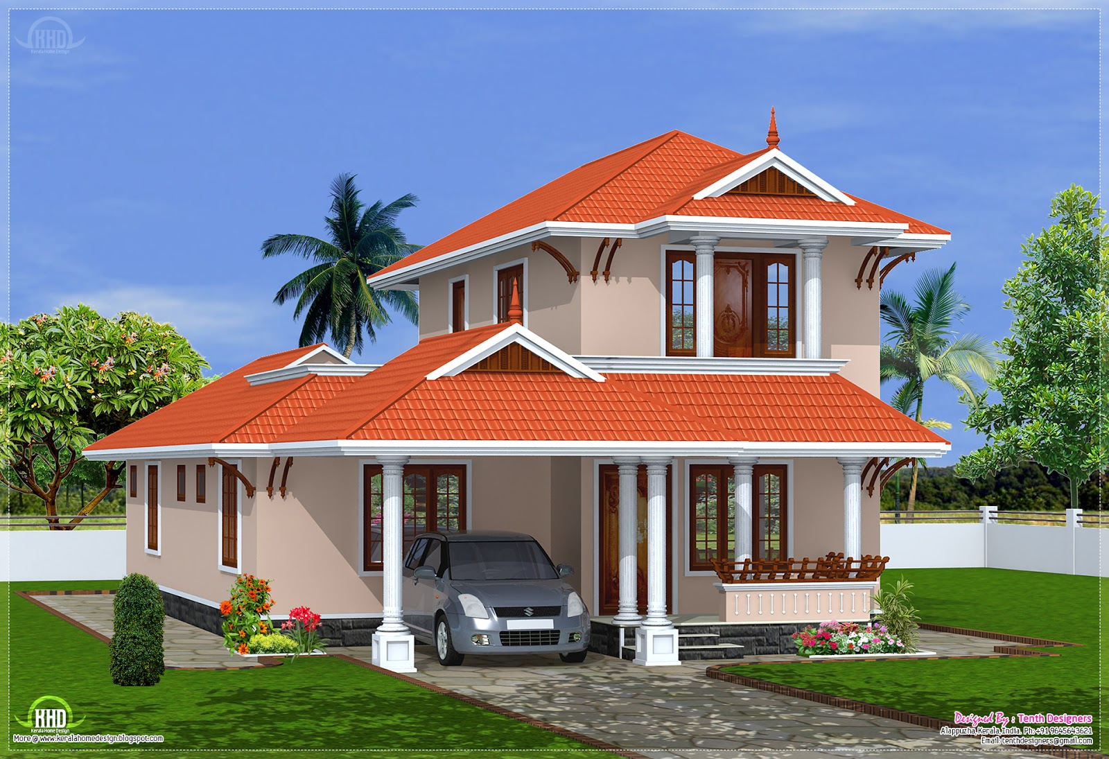 2000 kerala model villa design house design plans for Kerala style villa plans