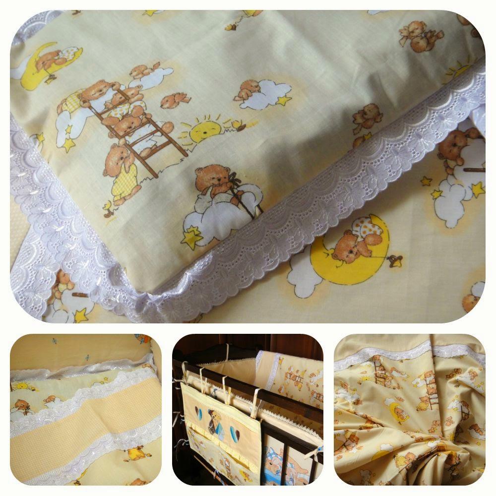 Красивый комплект постельного белья в детскую кроватку