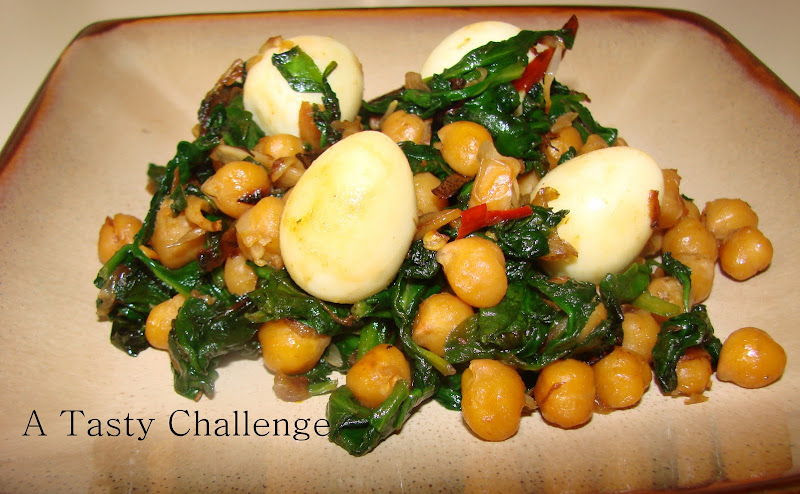 Sauteed Spinach and Chickpea Salad with Quail Eggs