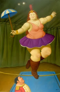 painting by botero of a woman on a tightrope in a circus