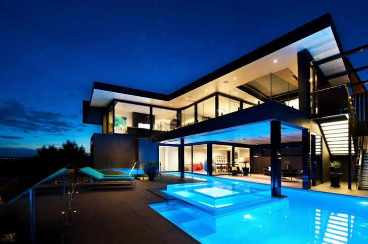Ground floor terrace at night in Dream home in black and blue