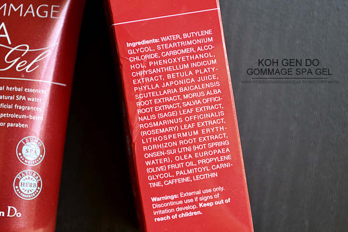 Koh Gen Do Soft Gommage Spa Gel Scrub Indian Makeup Beauty Skincare Blog Ingredients